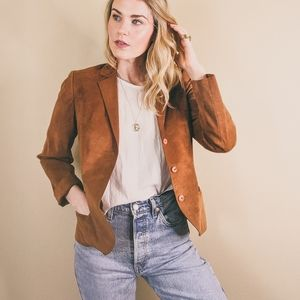 80s Vintage Brown Suede Blazer. Single Breasted